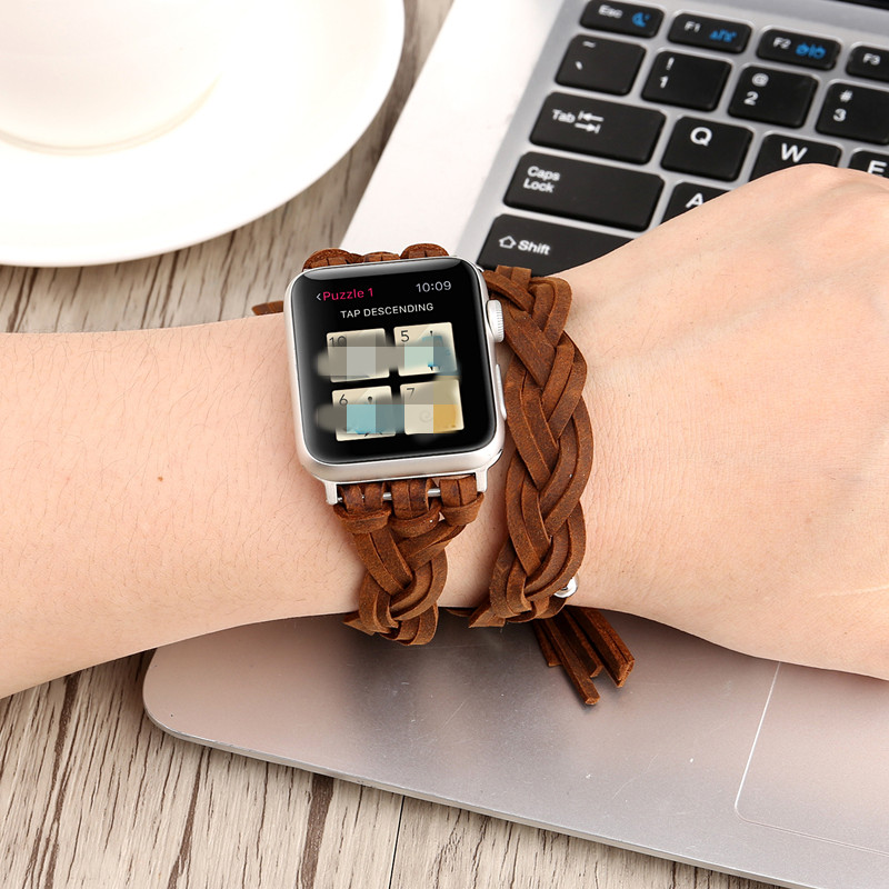 Vintage Handmade Weave Band For Apple Watch Strap PU Leather Series 1234 For Women Men Casual Sport Watch Strap Accessories
