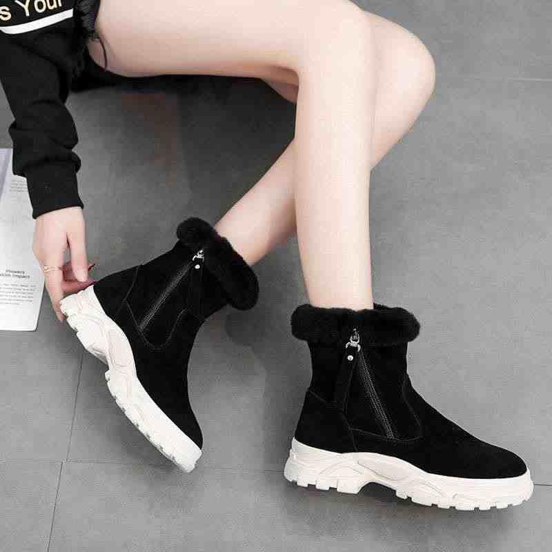 LZJ ผู้หญิงหิมะรองเท้าบูท 2019 ฤดูหนาวรองเท้าบูทแพลตฟอร์มหนา plush warm กันลื่นกันน้ำฤดูหนาวรองเท้าขนาด 35- 39 สีดำสีขาว