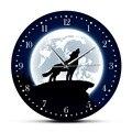 Настенные художественные настенные часы с Луной и воющим волком в пустыне  декоративные настенные часы с животным  домашний декор  серый во...