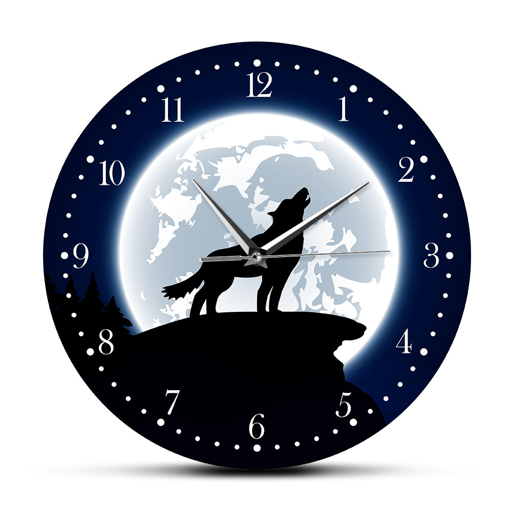 Wilderness Wall Art Howling Wolf With Moon Decorative Wall Clock Wildlife Animal Home Decor Grey Wolf Man Cave Clock Wall Watch