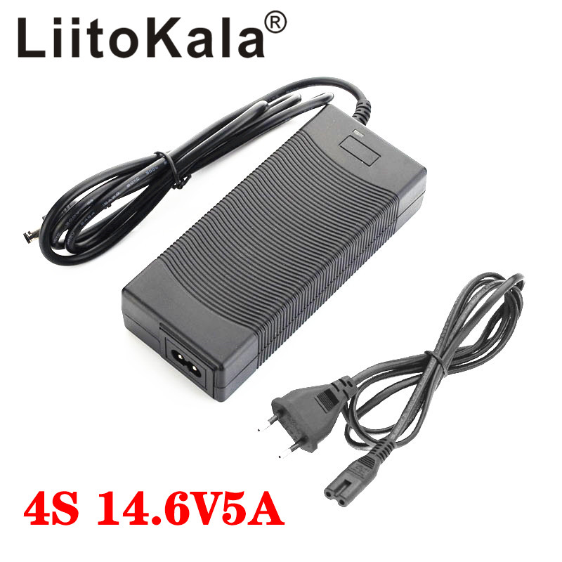 LiitoKala 14.6V 5A Charger 4S 14.4V 12V LiFePO4 battery 14.4V LiFePO4 Battery Charger Input 100-240V Safety Stable