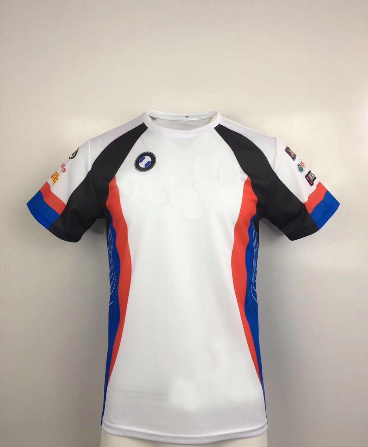 NEW 2020 White <font><b>Motorrad</b></font> Motorsport Motorcycle <font><b>T</b></font>-<font><b>shirt</b></font> Cycling Outdoor Polyester Quick-Drying <font><b>T</b></font>-<font><b>shirt</b></font> Jersey for <font><b>BMW</b></font> Motocross image