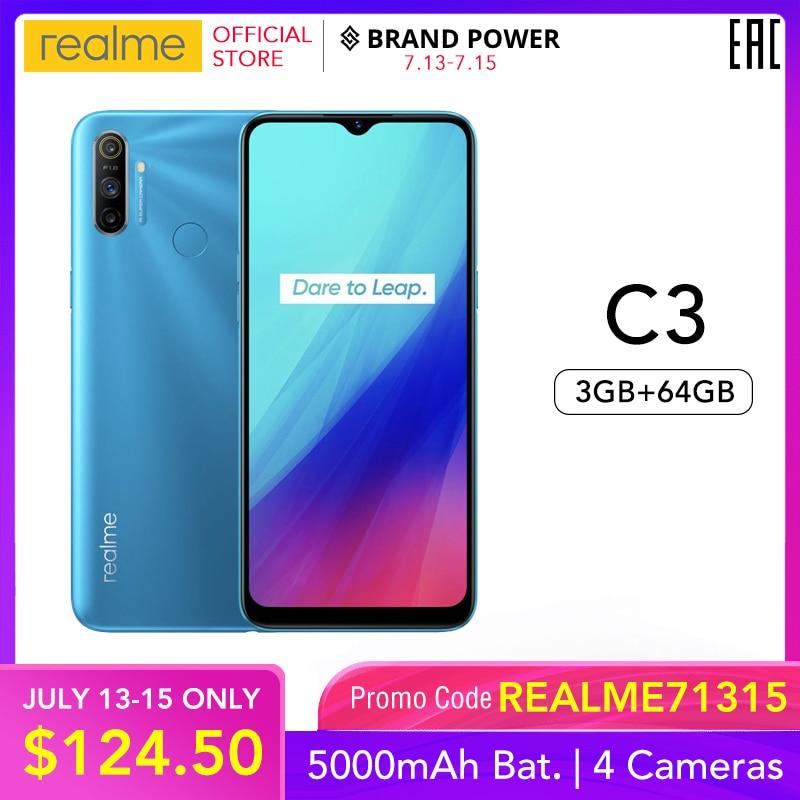 Realme C3 5000 мАч аккумулятор мобильный телефон 3 Гб RAM 32 Гб 64 Гб ROM Helio G70 процессор 12MP AI двойная камера HD мини-капля полноэкранный NFC