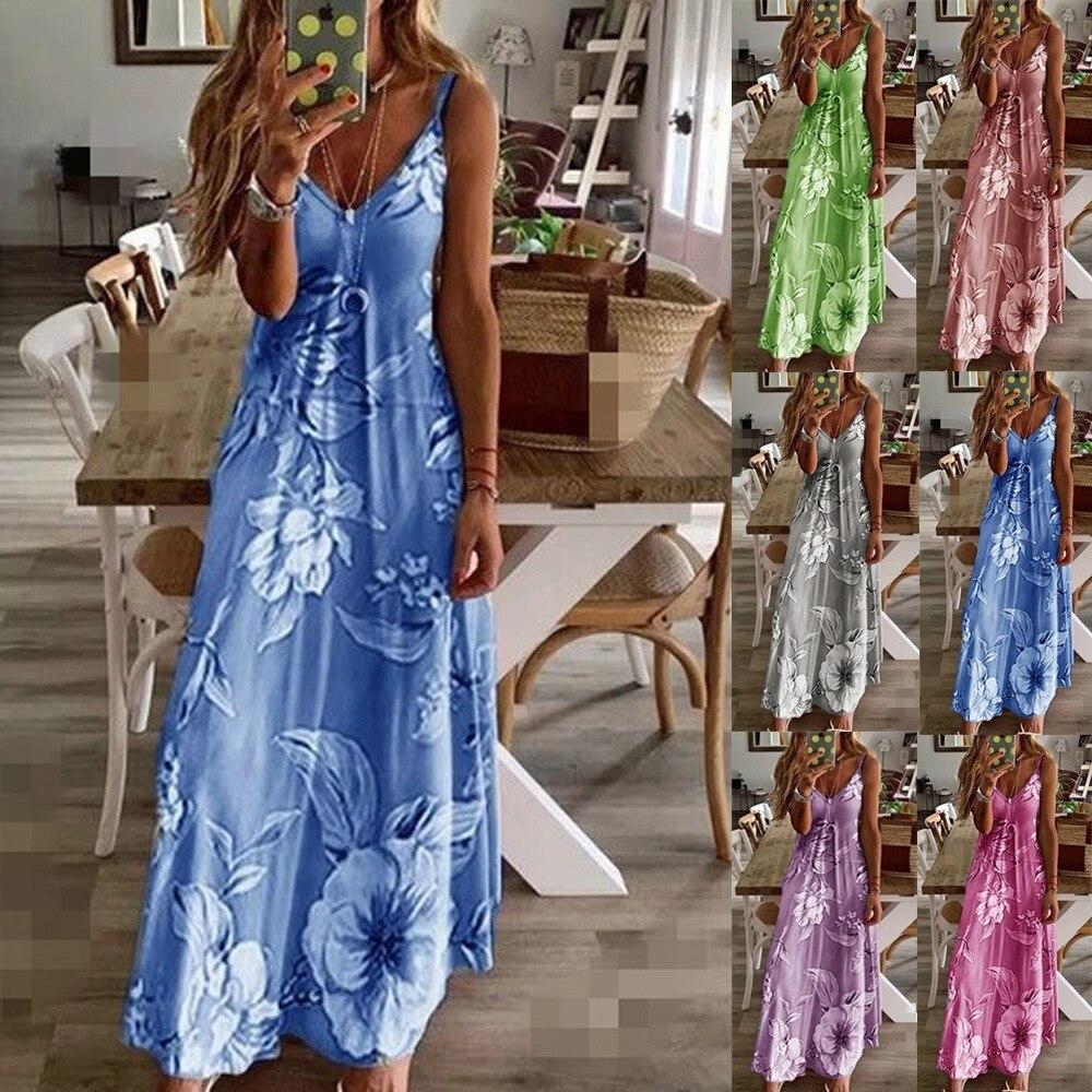 Fashion Floral Printed Sexy Women Robe Summer 2020 Sleeveless Spaghetti Strap Slim Long Dress Plus Size Stretch Women Dress 5XL