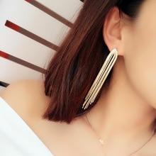 New Super Fairy Temperament S925 Silver Needle Tassel Earrings Long Trend Queen Dangle