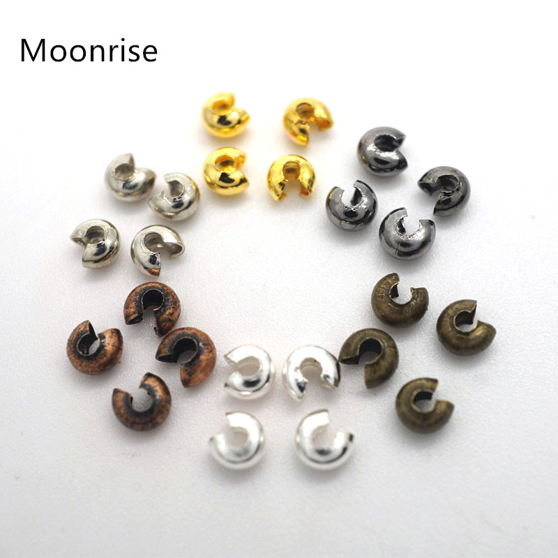 DIY 100//set Round Covers Crimp End Beads Stopper Spacer Beads For Jewelry Making