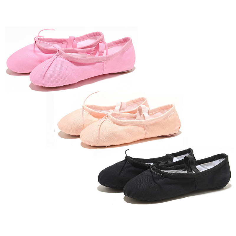 USHINE Update Quality Yoga Slippers Gym Teacher Yoga Ballet Dance Shoes For Girls Women Ballet Shoes Canvas Kids Children