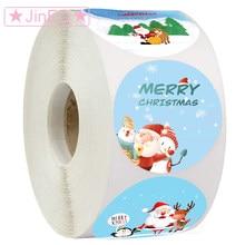 500 etiquetas feliz natal adesivos redondos feriados adesivos para o natal obrigado você cartões de vedação presente decoração adesivos
