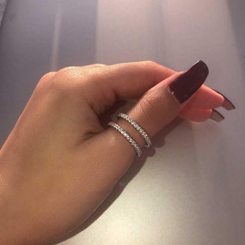 Neue 2020 Kreative Doppel Schicht Ring Exquisite Glänzende Voller Kristall Frauen Ringe Zirkonia Schmuck Für Hochzeit Party