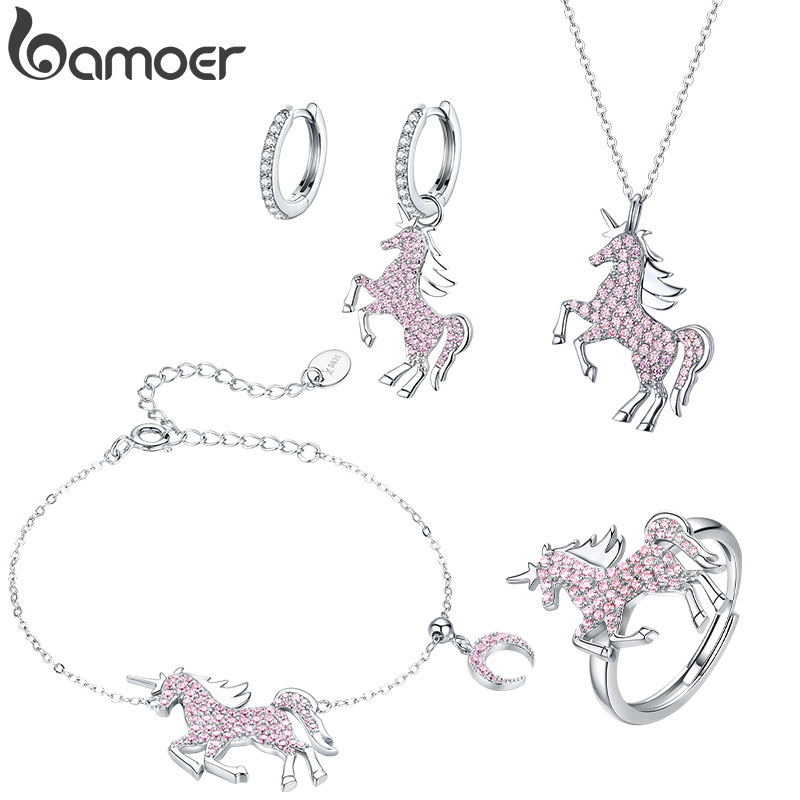 Bamoer 925 Sterling Silver Jewelry Sets Pink Licorne Pendant Necklace For Women Chain Necklaces Earrings Wedding Jewelry ZHS187