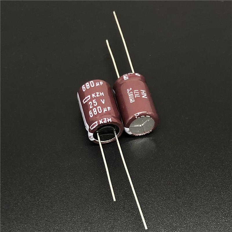 10pcs 680uF 25V NIPPON NCC KZH Series 10x16mm Ultra Low Impedance 25V680uF Aluminum Electrolytic Capacitor