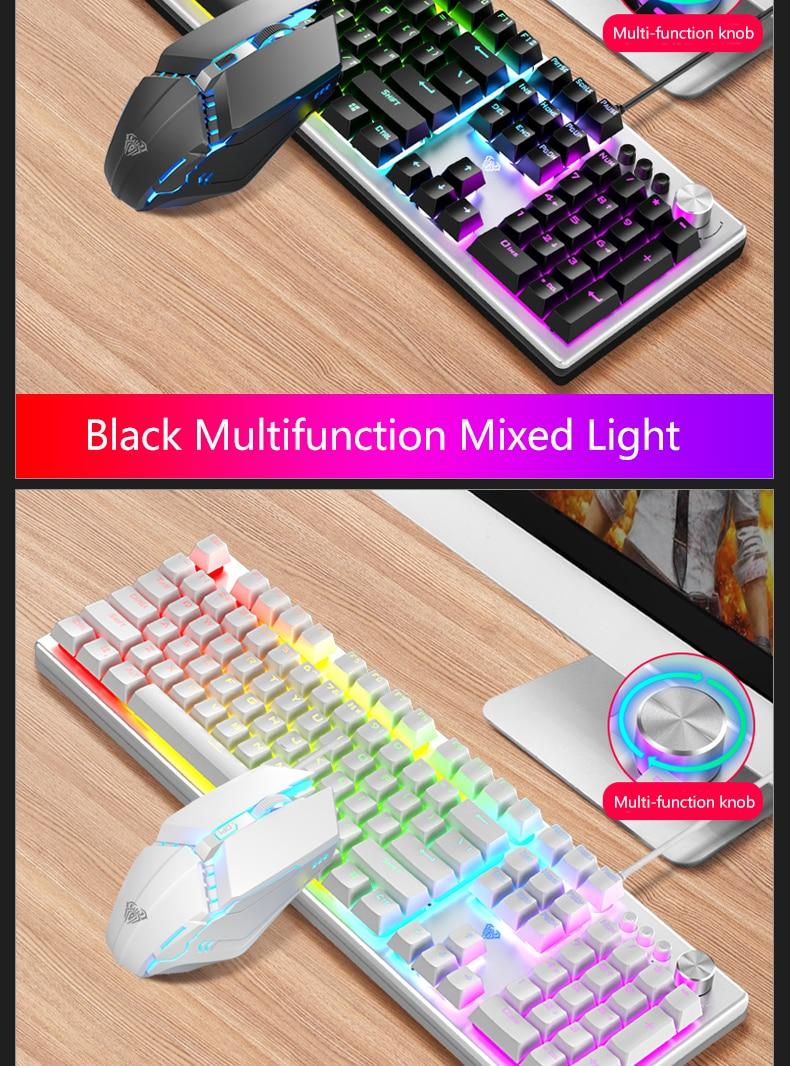 combos 104 teclas multimídia botão mix backlight