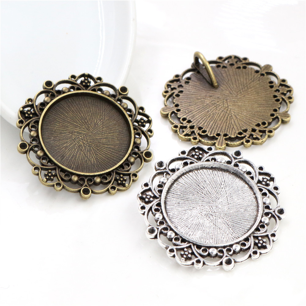 New Fashion  3pcs 25mm Inner Size Antique Silver Plated Baroque Style Cabochon Base Setting Charms Pendant