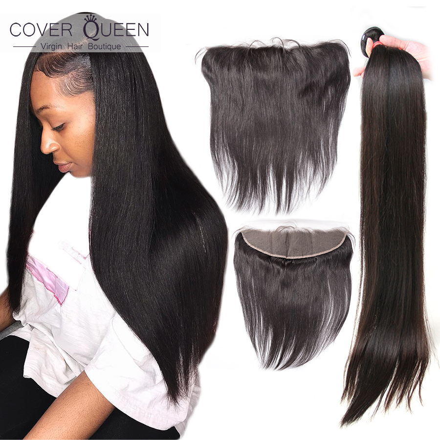 28 30 32 34 36 38 40 Inch Brazilian Hair Weave Bundles With Frontal Straight 13x4 Ear To Ear Human Hair Bundle With Lace Closure