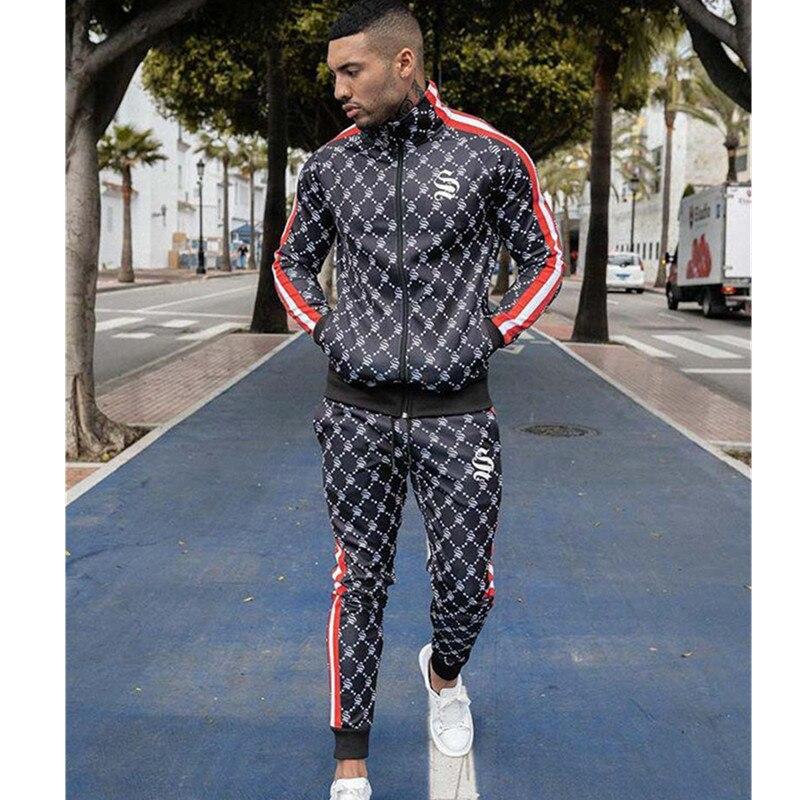 Silk Silk Fashion Autumn Mens Casual Loose Sweatshirt  Joggers Sweatpants Male  Jacket Sportswear Trousers Brand Sportswear Suit