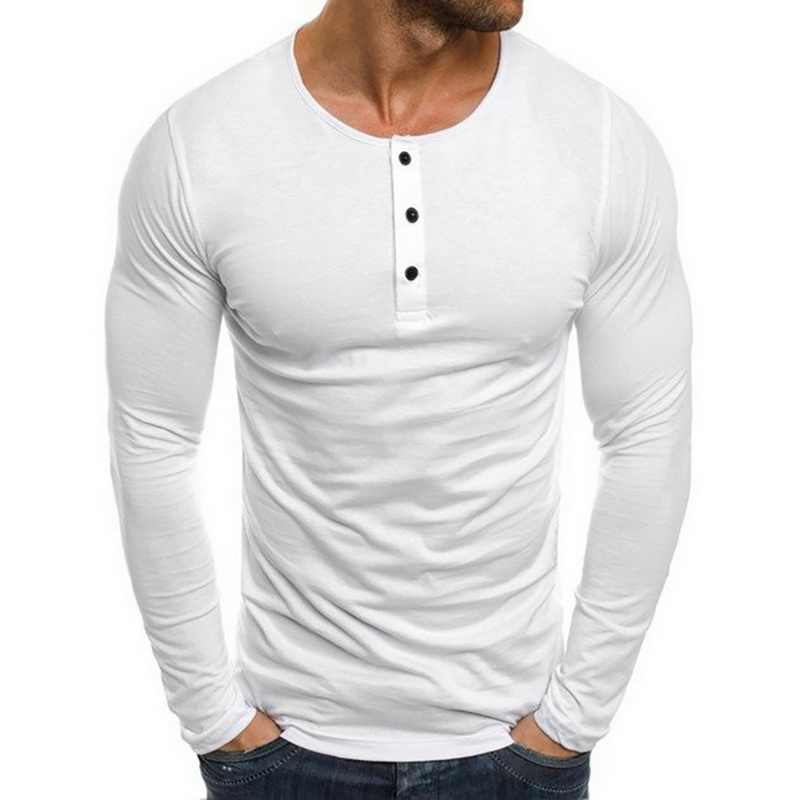 Camiseta masculina casual de manga longa, blusa masculina com botões, gola redonda, tecido respirável, slim fit, 2020 camiseta esportiva para academia