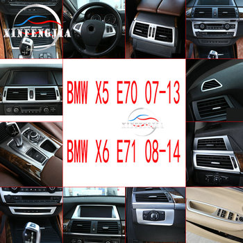 For BMW X6 X5 E70 E71 07-13 ABS Chrome Silvery Car Modified Decorate Center Gear Shift Panel Air Vent Outlet Interior Trim image