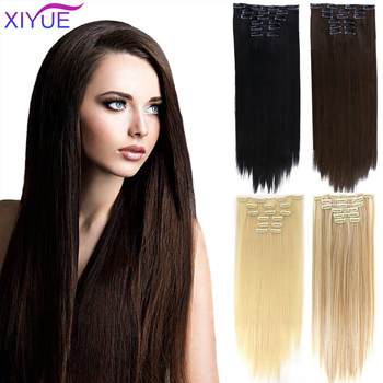 6 uds. De pelo sintético liso, 16 Clips de extensión de cabello, 24 pulgadas, sintético largo, falso postizo de Clip