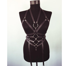 HY_Enchanting PU Leather Harness Trendy Sexy Belts Harajuku Women Slim Studded Punk Body Adult Fetish Bondage Garters Chest Belt(China)
