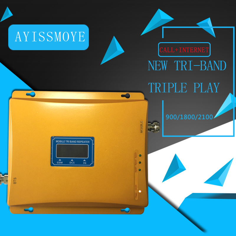 Best-Selling Tri-Band Transponder 2g 3g 4g 900 1800 2100 MHz GSM DCS WCDMA LCD Display Mobile Phone Signal Booster Wide Coverage