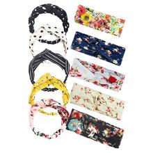 Z pałąkiem na głowę kobiety w stylu Vintage kwiat z pałąkiem na głowę drukowane szalik na głowę elastyczna opaska do włosów Boho chustka opaski do włosów akcesoria do włosów 10 sztuk tanie tanio CN (pochodzenie) cloth Dla dorosłych