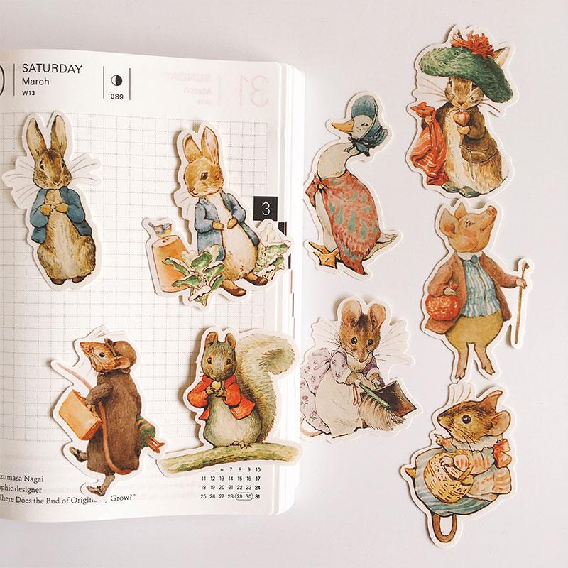 9Pcs/Set Vintage Cartoon Peter Rabbit Letter Sticker DIY Craft Scrapbooking Album Journal Happy Planner Decorative Stickers
