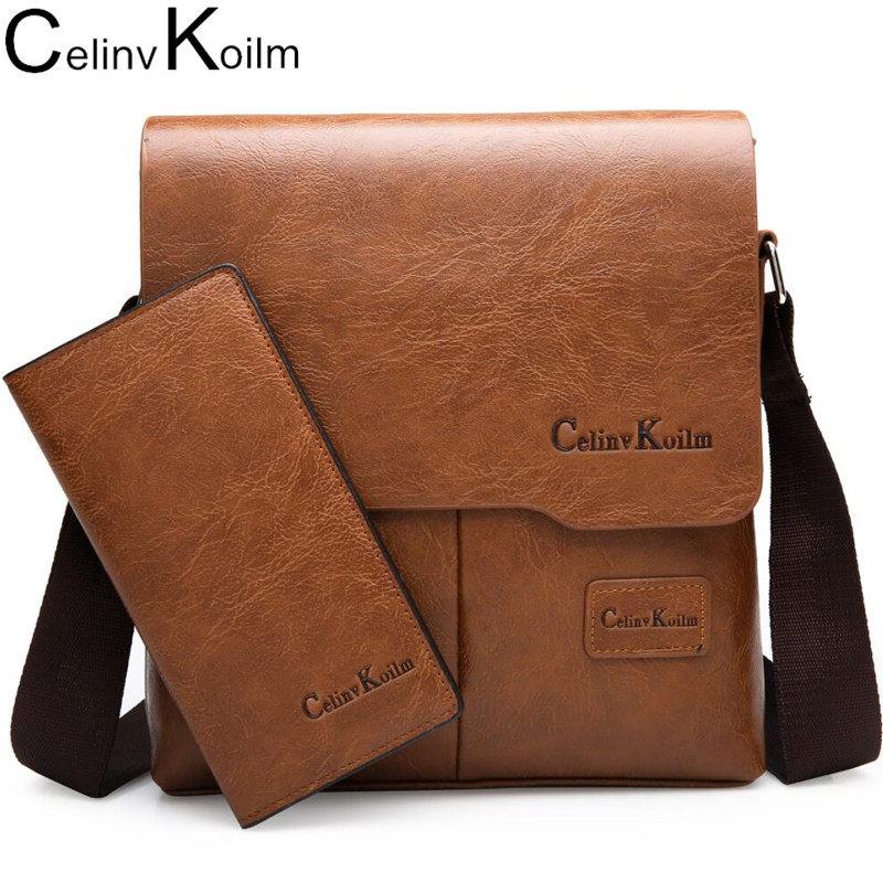 Celinv Koilm Man Messenger Bag 2 Set Men Leather Shoulder Bags Business Crossbody Casual Bag Famous Brand ZH1505/8068