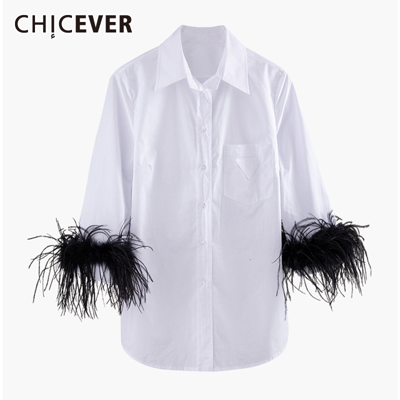 CHICEVER Korean Patchwork Feather Women's Shirt Lapel Collar Flare Sleeve Large Size Casual Blouse Female 2019 Autumn Fashion