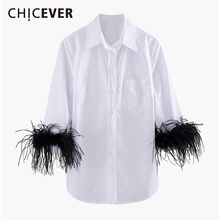CHICEVER الكورية المرقعة ريشة قميص نسائي التلبيب طوق مضيئة كم كبير الحجم بلوزة غير رسمية الإناث 2019 الخريف موضة