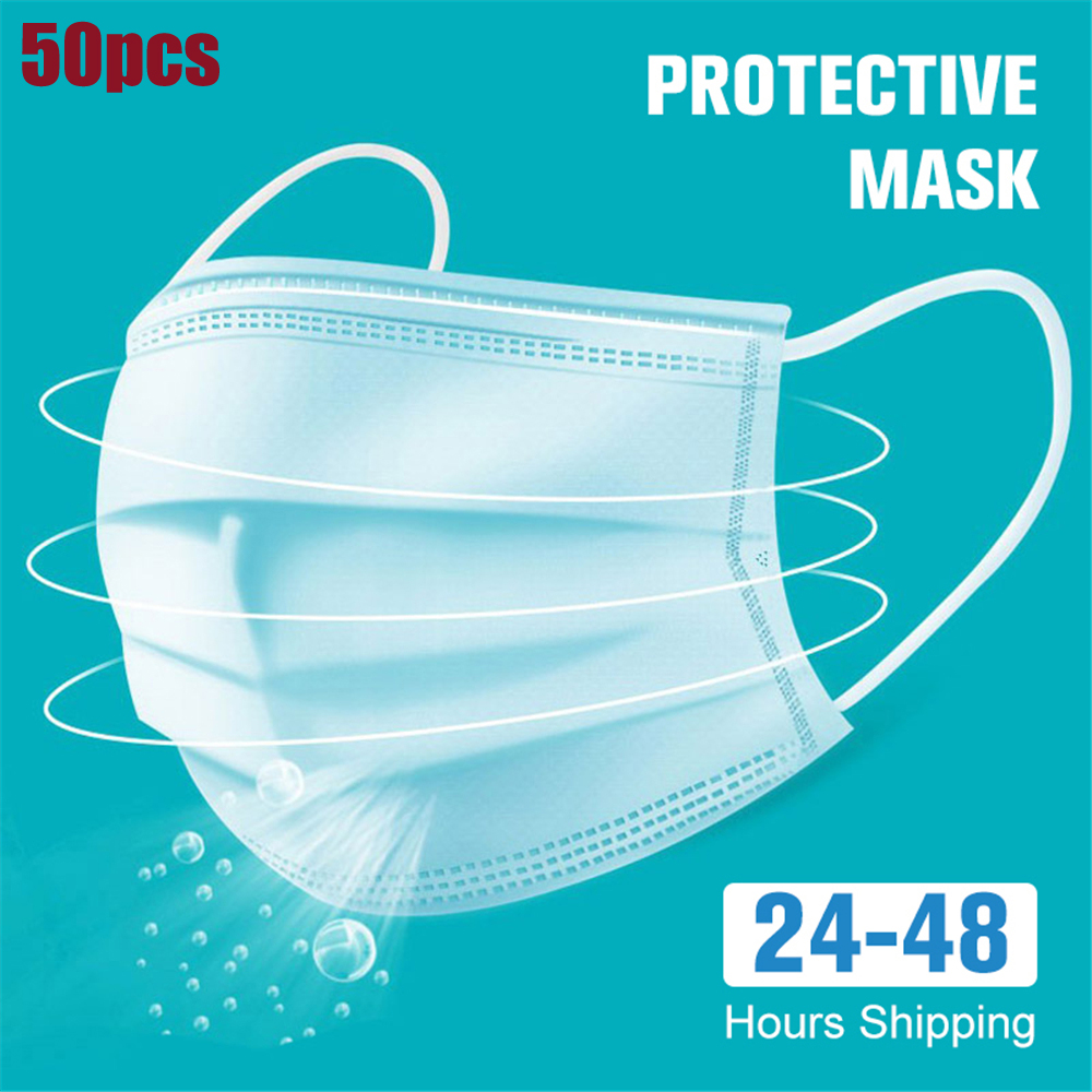 48hours Shipping 50pcs Disposable 3 Layers Face Masks - 3-Ply  With Nonwoven Filter Mask With Earloops For Home & Office