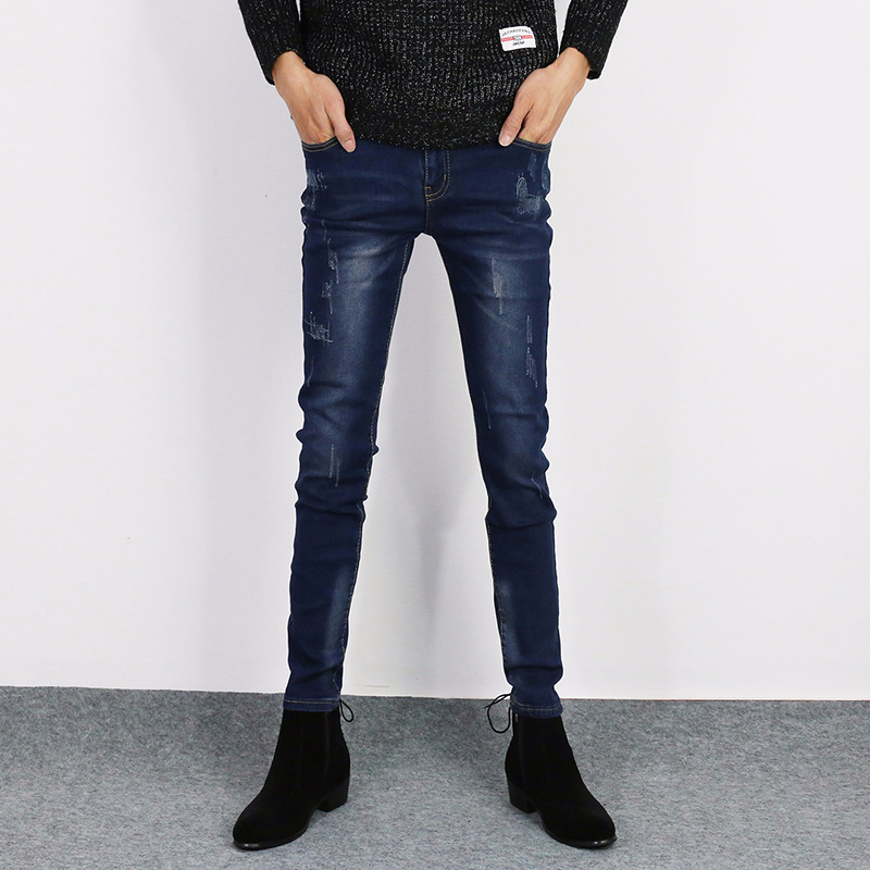2018 New Style Summer Thin Section Jeans Men Slim Fit Korean-style Trend Skinny Straight-Cut Teenager Casual Pants