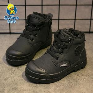 Image 3 - Dziecięce buty chłopięce dziecięce tenisówki wysokie skórzane buty dla chłopca gumowe antypoślizgowe śniegowce koronka up zimowe buty maluch bota