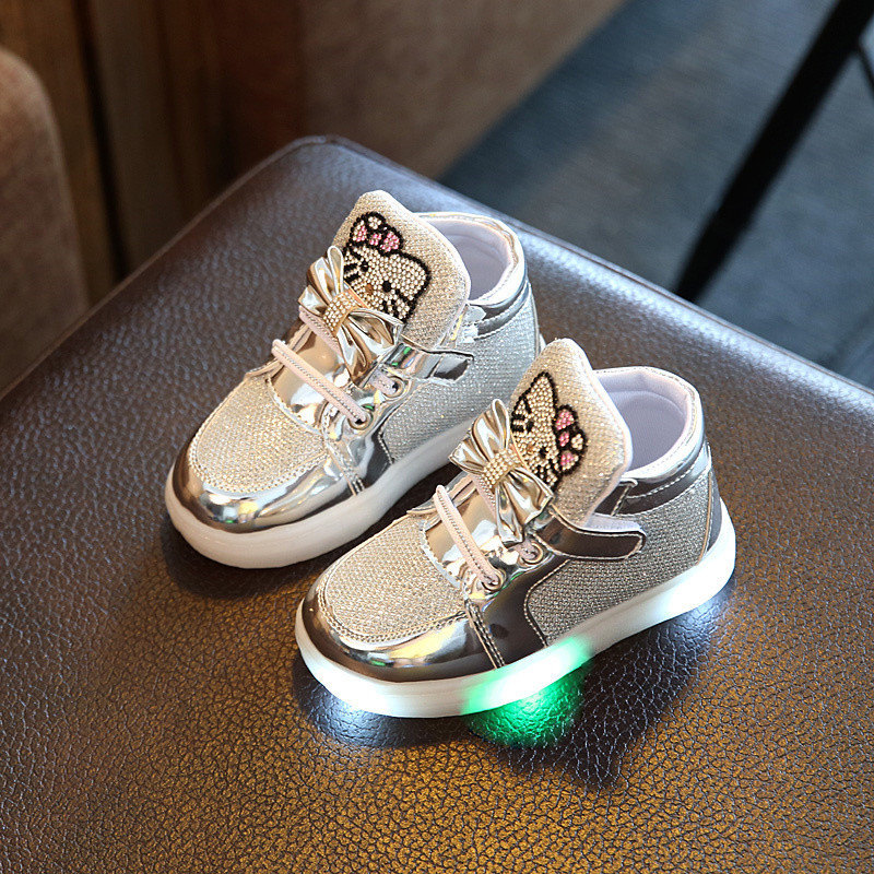 Casual Shoes For Small Children Led Light Single Baby Shoes Princess Sports Shoes Breathable Sequins Children Sneakers