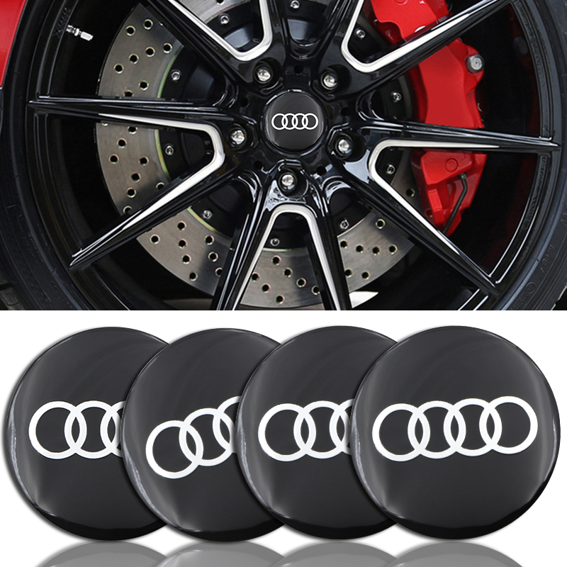 4pcs Black 56.5mm Car Tire Wheel Center Cover Sticker Car Hubcaps Sticker For Audi B5 B6 B7 B8 A3 A4 A4L A5 A6L C5 C6 RS4 RS5 Q3