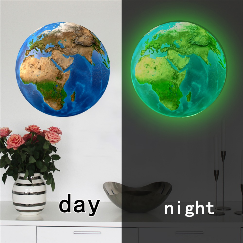 New-20cm-3D-Wall-Stickers-for-Kids-Room-Luminous-Moon-Star-Earth-living-room-decoration-Glow
