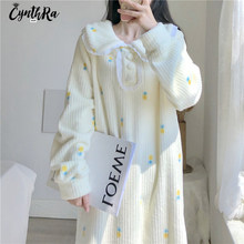 CYNTHRA Nightdress Women's Winter Cute Kawaii Flannel Pineapple Plush Long-sleeved Thick Loose Thermal Homewear Lady Nightgowns