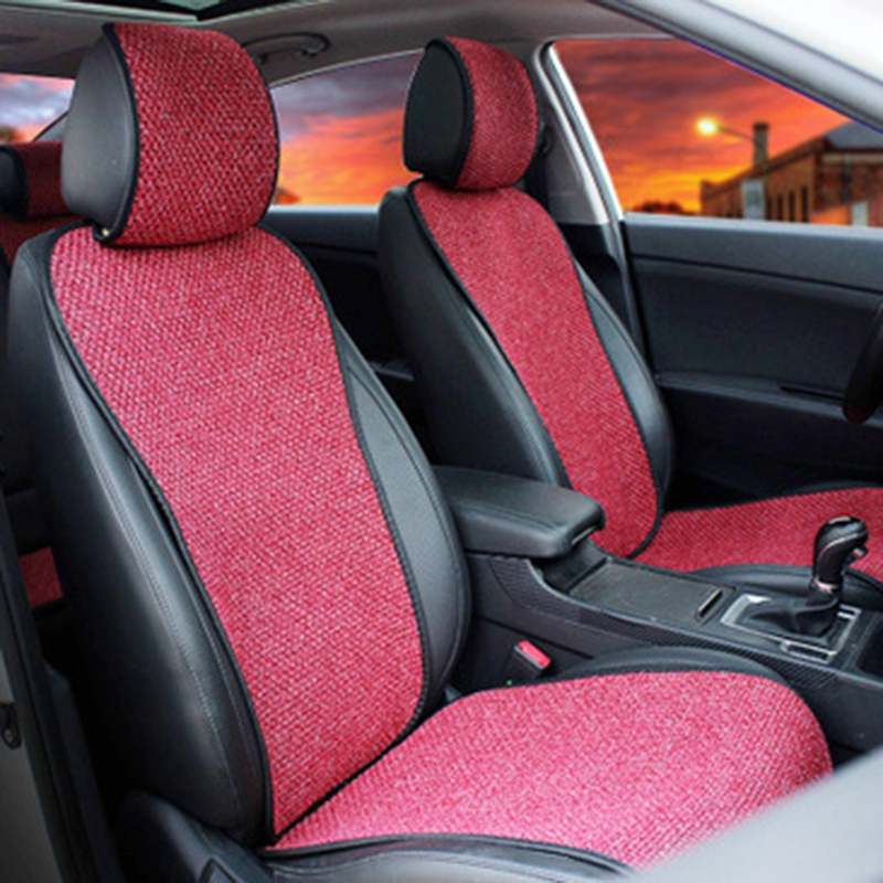 2 Pcs Car Seat Cover Blue Cloak Linen/ 2 Front or 1 Back Seat Cushion Pad Fit Most Car  Truck  Suv  Protect Automotive Interior(|Automobiles Seat Covers| |  - title=