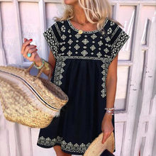 Explosion style summer fashion round neck print short sleeve dress loose casual women's bohemian vacation beach dress large size(China)