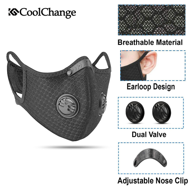 CoolChange Cycling Face Mask Filter Anit-fog Anit-pollution Breathable PM2.5 Activ Carbon Respirator Sports Bike Dust Mask 5