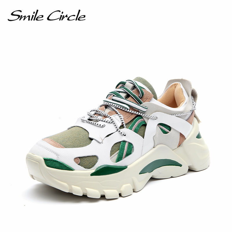 Smile Circle Fashion Chunky sneakers Women shoes Flat Platform Sneaker casual Shoes Thick bottom 6cm Ladies Sneaker