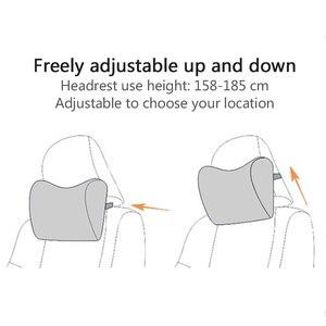 Image 5 - 2 個/1 pc 車のヘッドレスト首枕座椅子自動低反発綿クッション生地カバーソフトヘッドレスト旅行サポート