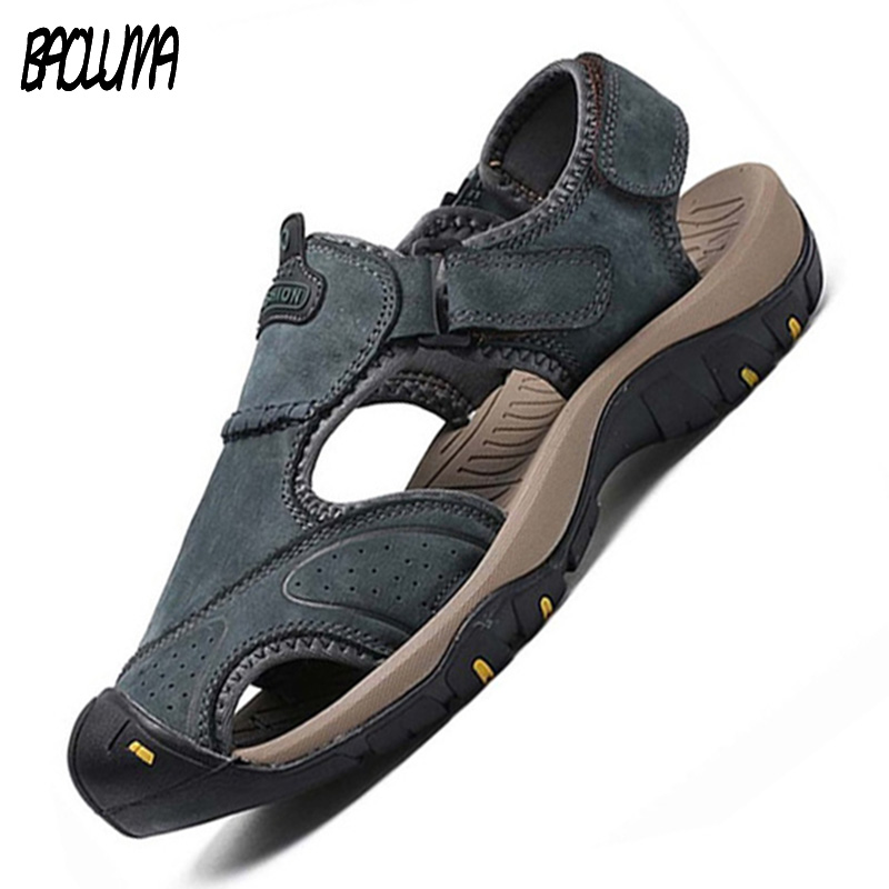Classic Summer Shoes Men's Sandals Roman Soft Genuine Leather Quality Man Summer Casual Shoes Men Beach Sandals Big Shoes