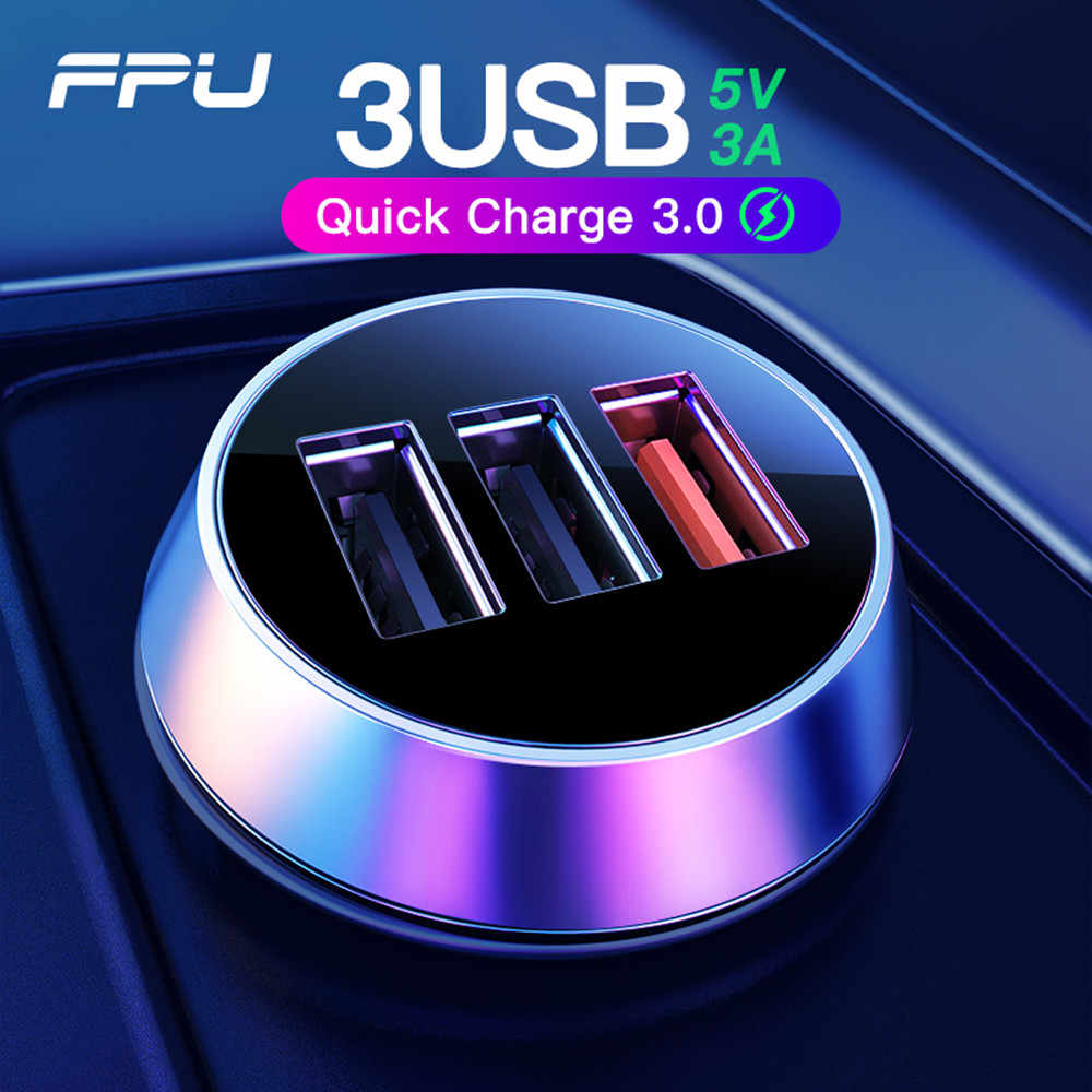 FPU USB Charger Mobil 3 Port Pengisian Cepat 3.0 QC3.0 QC Mobile Phone Charger untuk iPhone Xiaomi Tablet 3A Cepat charger Mobil