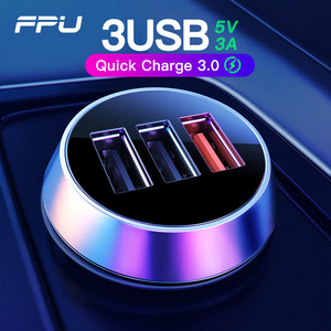 FPU USB Car Charger 3 Ports Quick Charge 3.0 QC3.0 QC Mobile Phone Charger for iPhone Xiaomi Tablet 3A Fast Car Charger Adapter(China)