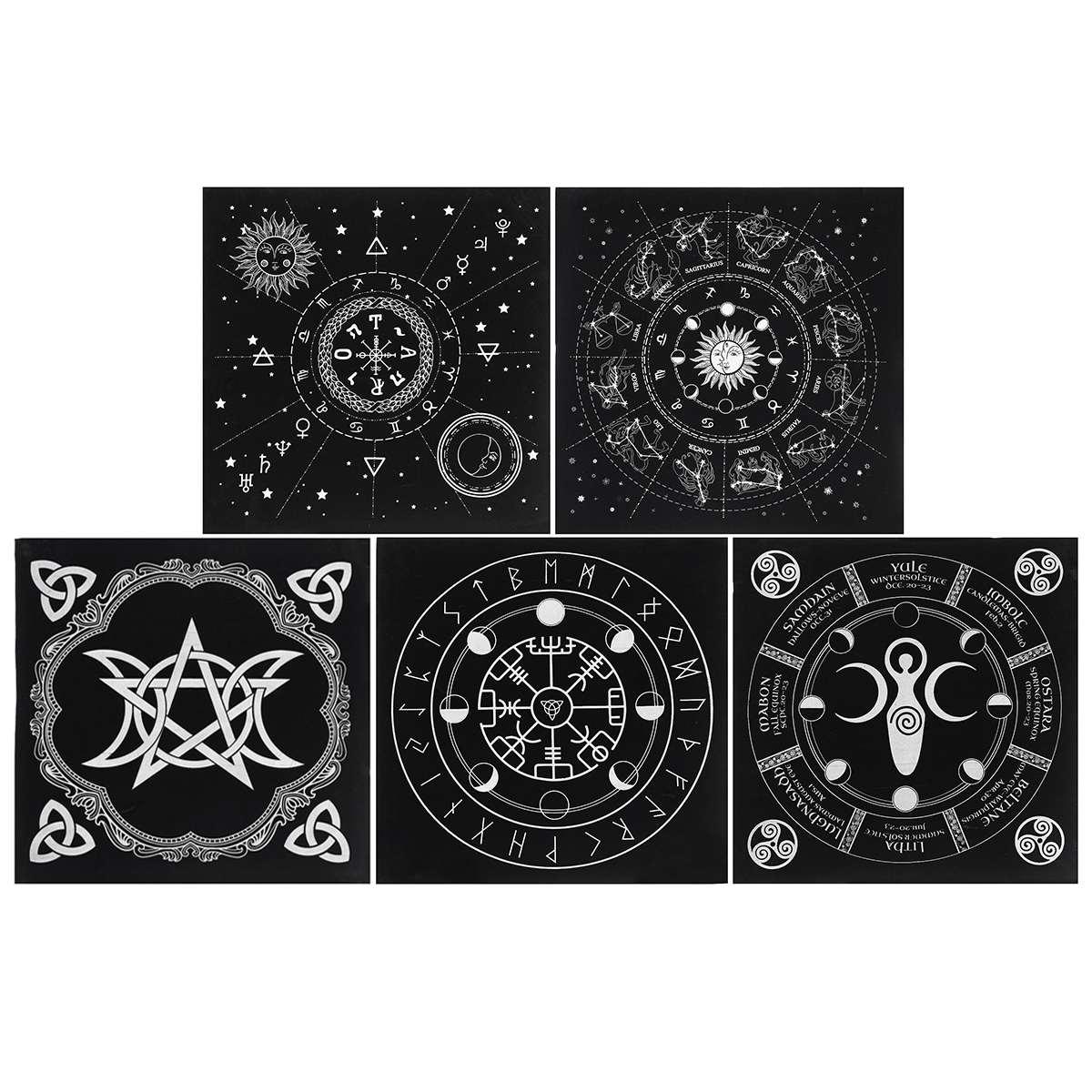 5 Types 49x49cm Tarot Tablecloth Triple Moon Pentagram Pagan Altar Tarot Cloth Velvet Black