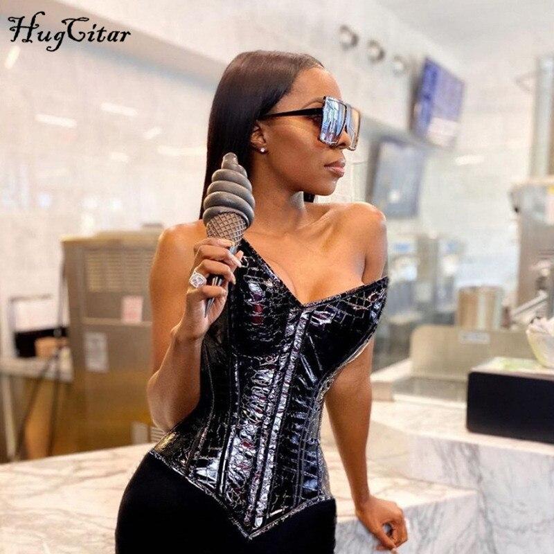 Hugcitar-Camiseta sin mangas de Pu sólido para mujer, Top Bandage de cuero calado Sexy, trajes de Club de fiesta de moda para Otoño e Invierno 2020