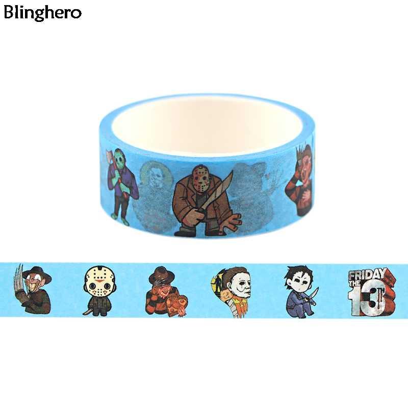 Cinta adhesiva de 15mm X 5m para enmascarar Horror cinta adhesiva de dibujos animados etiquetas para cintas cinta adhesiva regalo BH0468