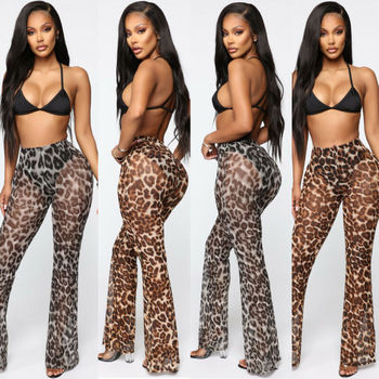 New Summer Sexy Ruffle Women Beach Mesh Flare Pants Sheer Wide Leg Transparent See through Holiday Trousers Pantalon