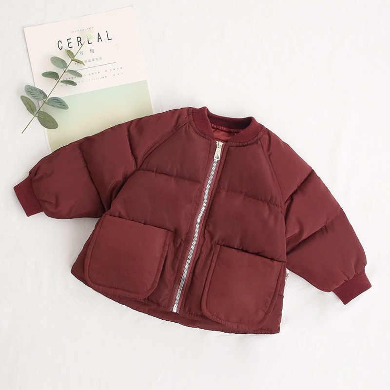 2019 סתיו וחורף חדש מוצק צבע ילדים של כותנה מעיל ילדי בגדי כותנה אוניית בנים ובנות ילד של צמר גפן מעיל