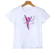 2020 hot sale vogue t shirt girls funny tinkerbell princess printed kids clothes white kawaii cartoon Short Sleeves tshirt boys